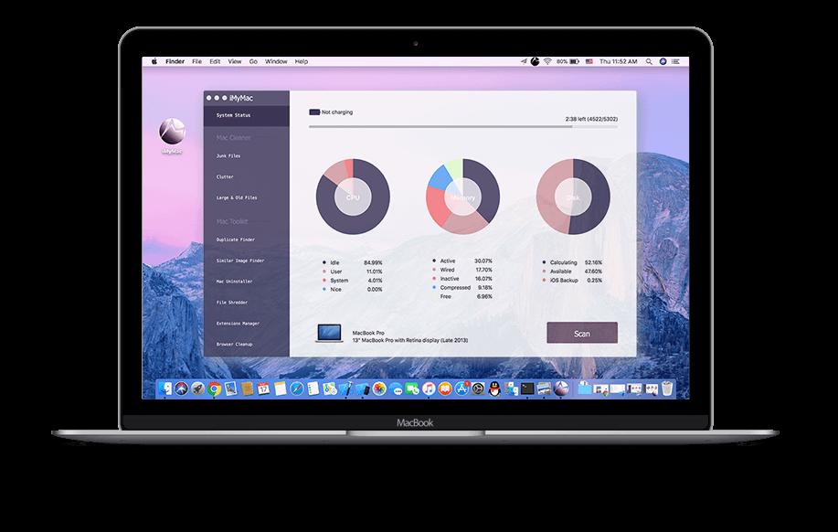 Estado mostrado en iMyMac Mac Cleaner