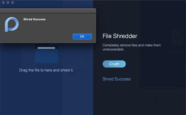 administrador de archivos de triturar la alerta de éxito