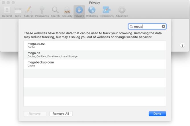 Bereinigen Sie MegaBackup-Daten in Safari