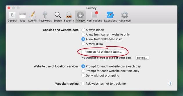 Safariの履歴を削除
