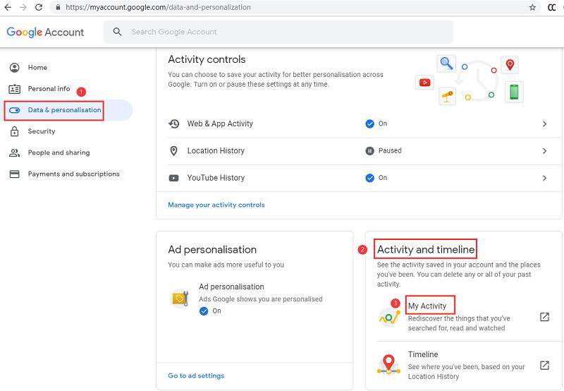 Eliminar el historial de búsqueda de Google con mi actividad