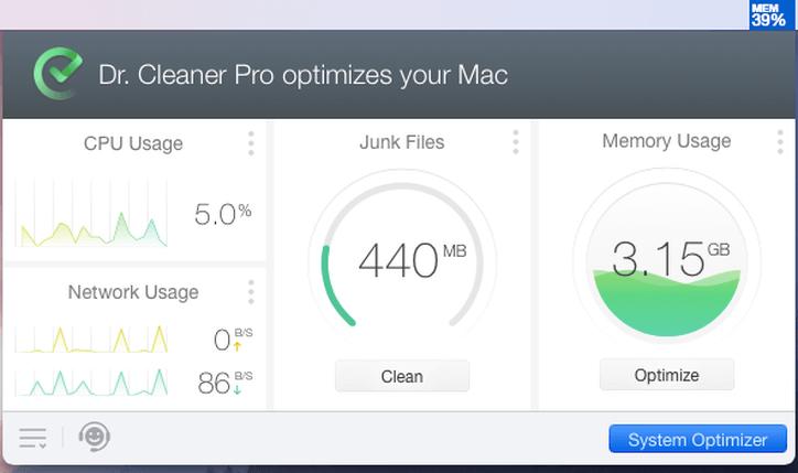 Ventana del menú de Mac Cleaner