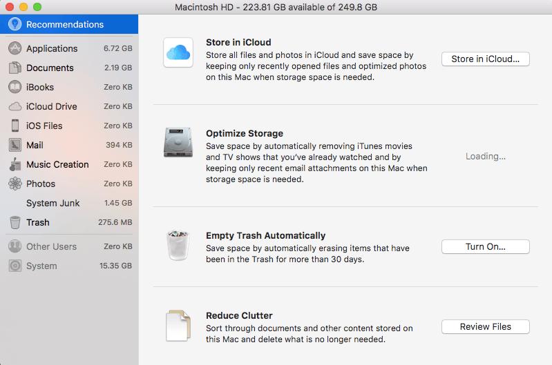 Otimize o armazenamento no Mac