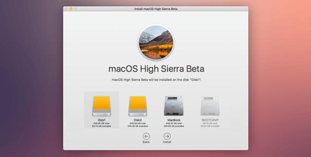 Installieren Sie High Sierra Disk neu