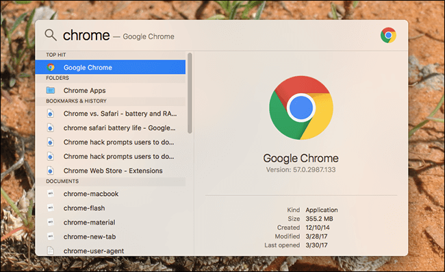 Spotlight Search Chrome
