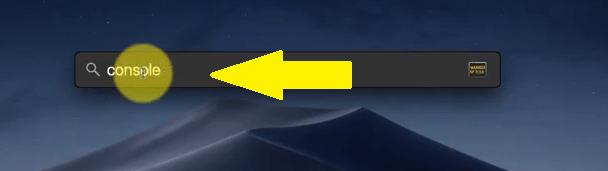 Geben Sie in der Spotlight-Suche Console ein