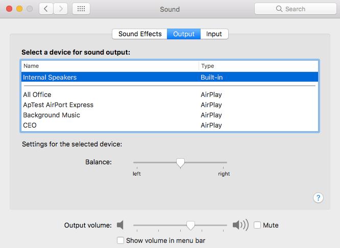 comprueba la configuración de sonido mac