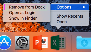 Dock에서 Mac 용 Microsoft Office 제거