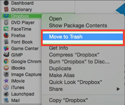 Desinstalar o Dropbox do Mac usando o Finder