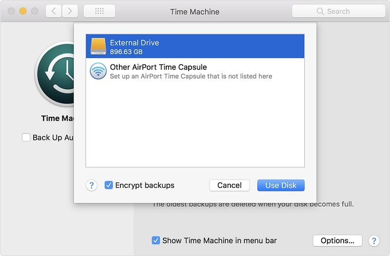 Time Machineバックアップディスクとして外部ストレージを接続する