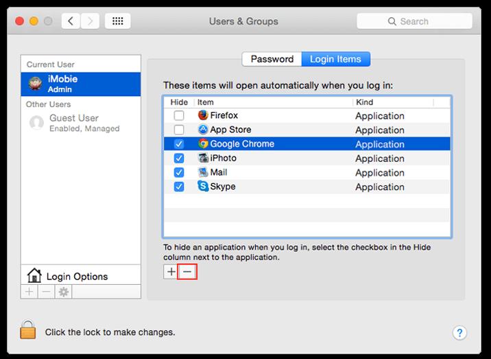 Ändern Sie die Startprogramme für Mac-Benutzer