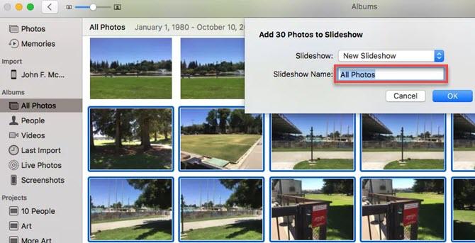 Crear una presentación de diapositivas utilizando Apple Photos