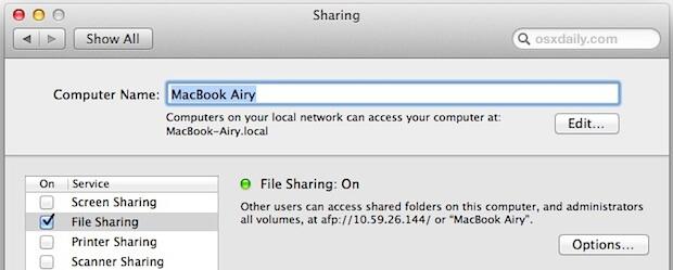 Dateifreigabe-Macs