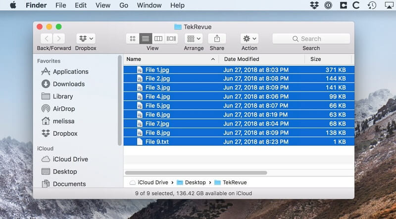 Macで複数のファイルを選択する方法