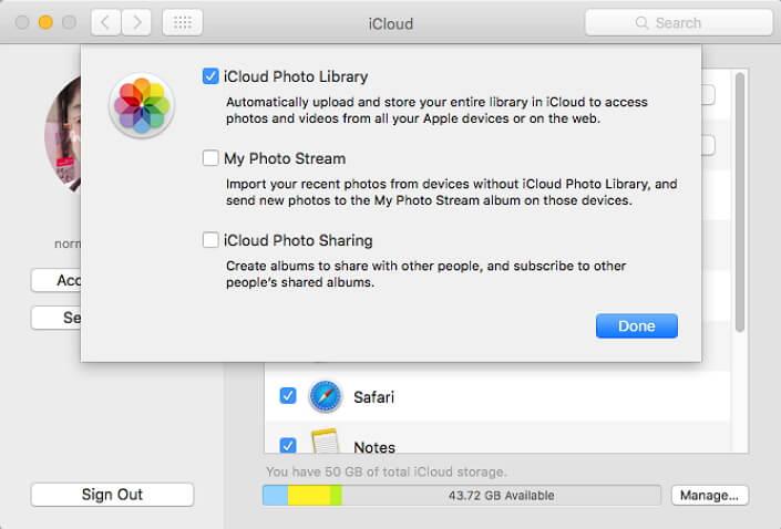Mac上的Icloud照片庫