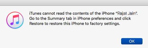 iTunes no puede leer el contenido del iPhone