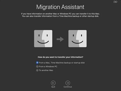 Asistente de migración de Mac
