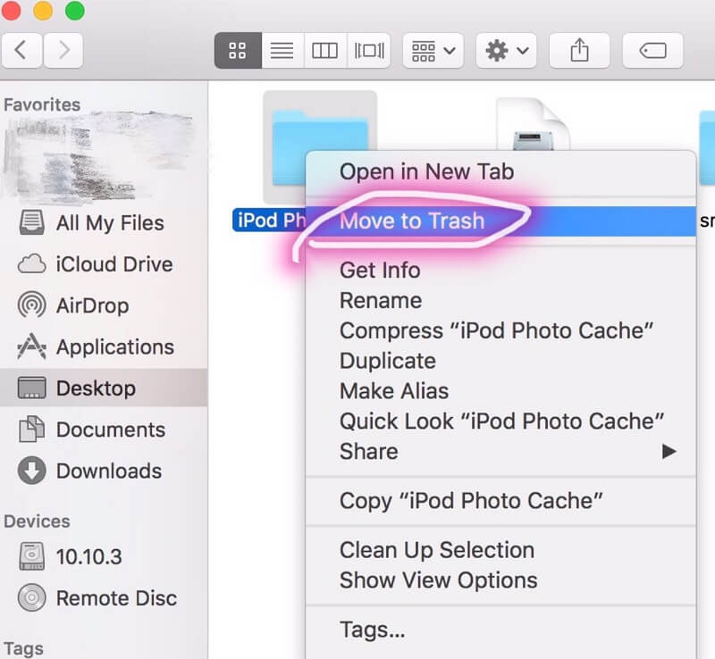 Drag the Folder Named iPod Photo Cache to Trash