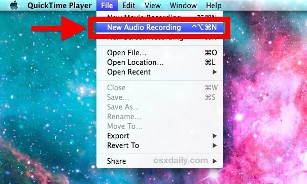 Cómo grabar audio en Mac usando QuickTime
