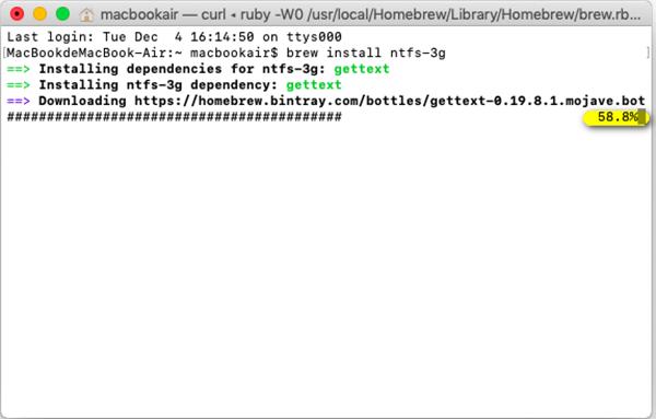 NTFS 3g-Installationsvorgang
