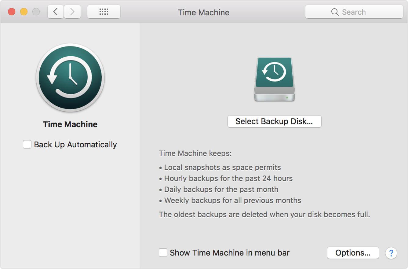 Time Machineでファイルをバックアップする