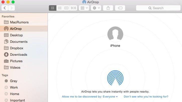 AirDropを使用して写真をMacからiPhoneに転送する