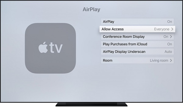 Apple TVでAirPlayを入にする
