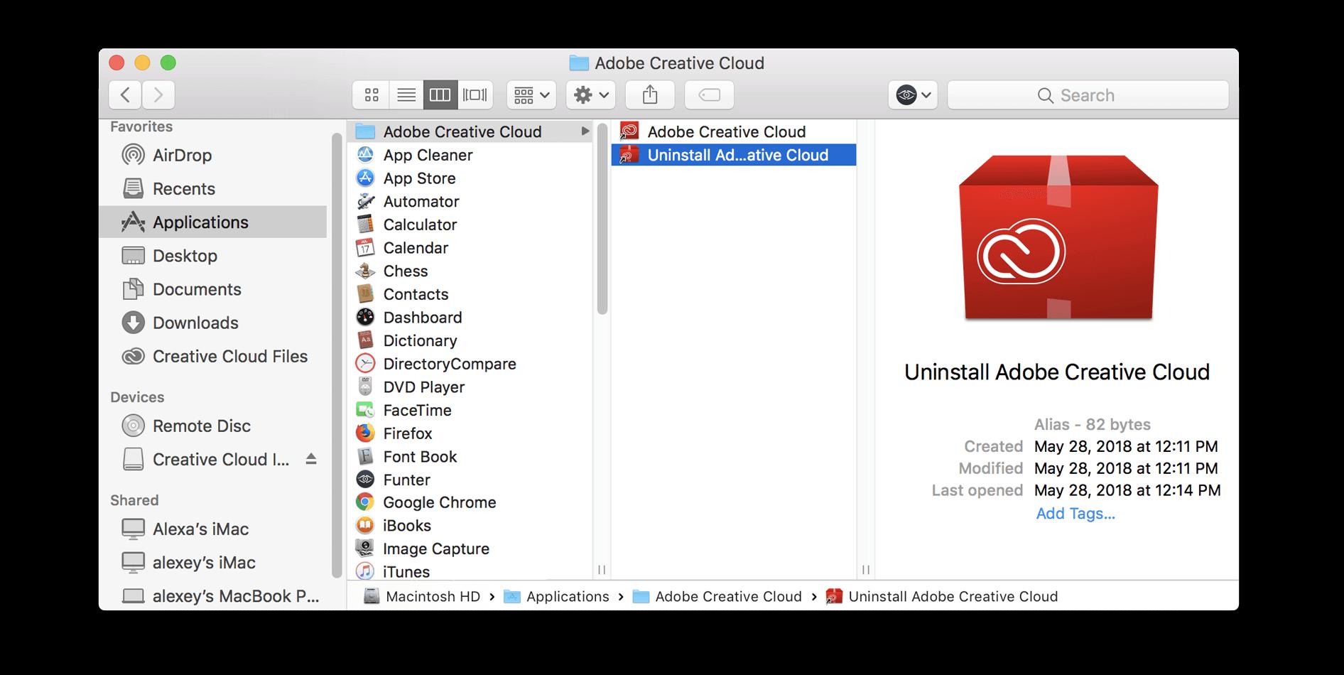 Creative Cloudを手動でアンインストールする
