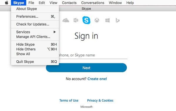 Desinstalar Skype en Mac