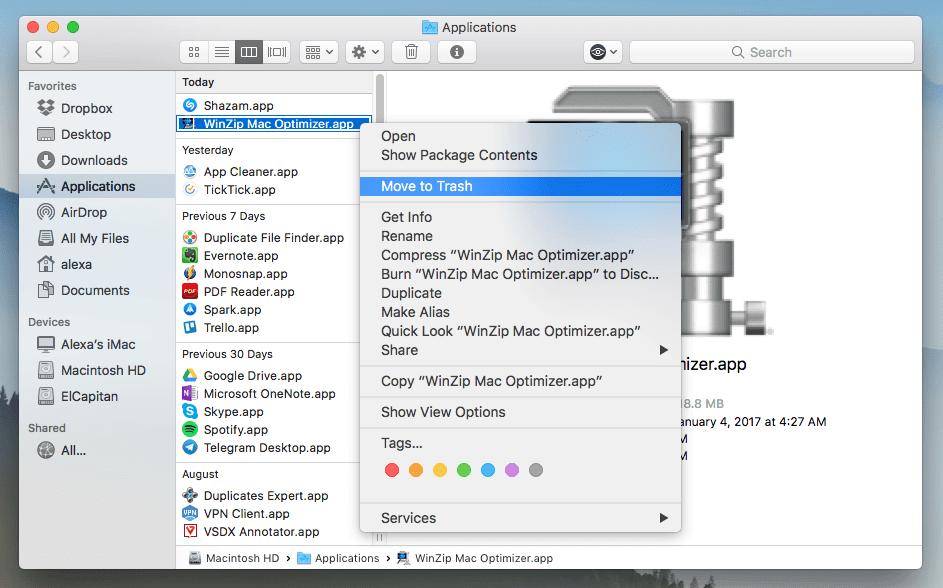 WinZip On Macを手動でアンインストールする方法