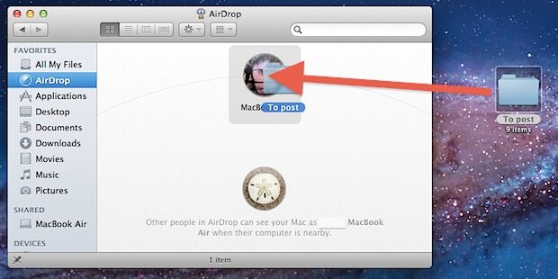 Use AirDrop Via Drag And Drop