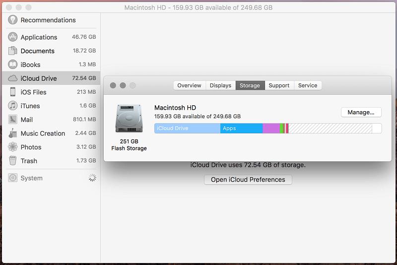 iCloud Drive занимает много места на Mac