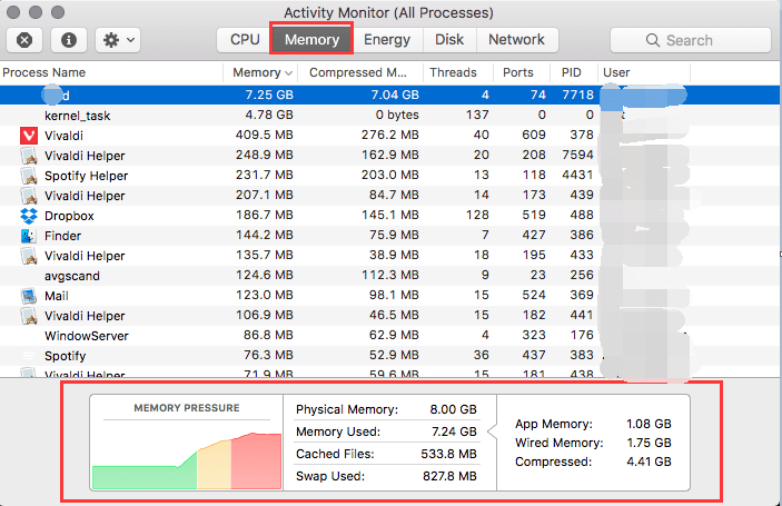 Memory Usage on Mac