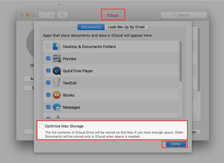 Desativar Otimizar armazenamento no Mac