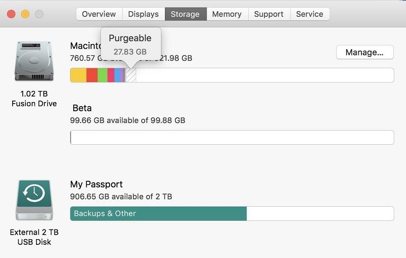 Use la herramienta de almacenamiento de Mac