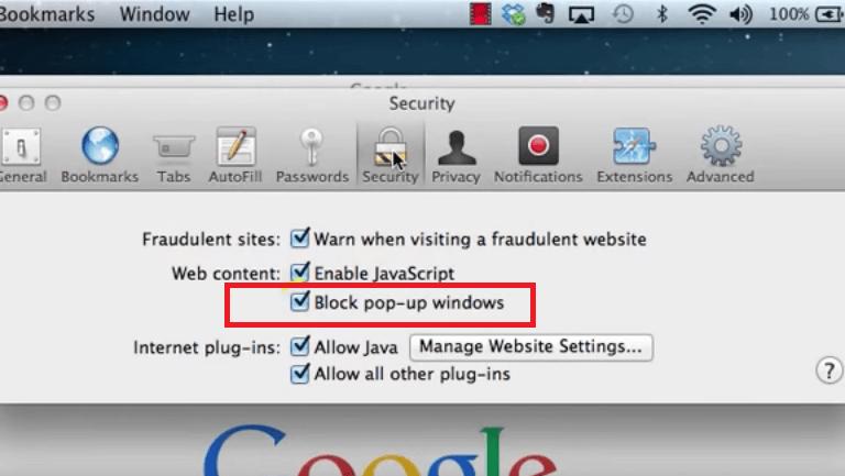 Blockieren Sie Popup-Fenster in Safari