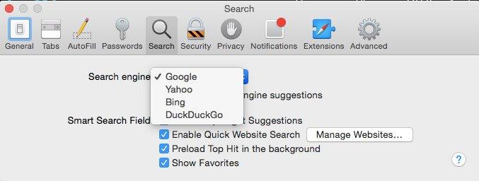 Ändern Sie die Safari-Suchmaschine