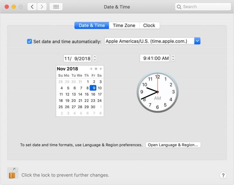 Macで日付と時刻を確認する