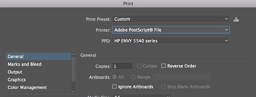 Konfigurieren Sie Illustrator für das Drucken auf einem nicht standardmäßigen Drucker