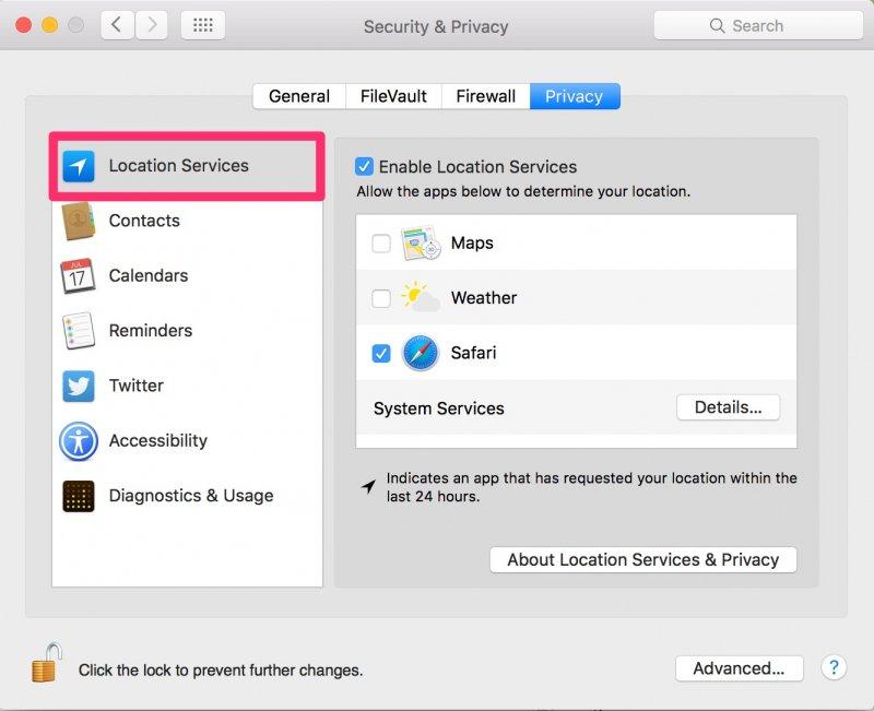 位置情報サービスMacをオンにする