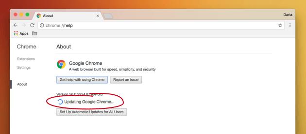 Error de actualización de Chrome