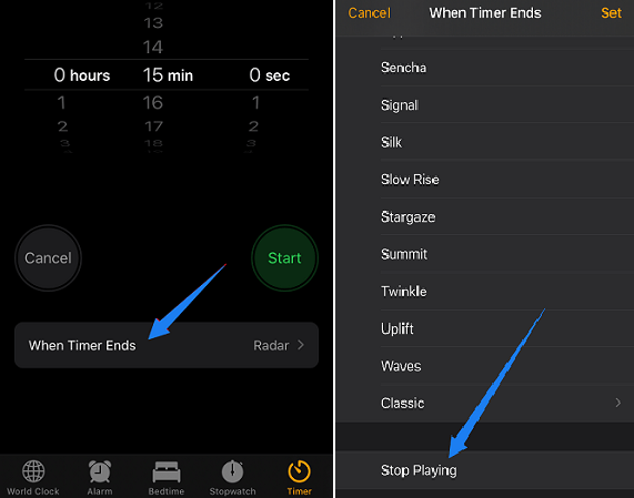Use the Clock icon to Set up Spotify Sleep Timer