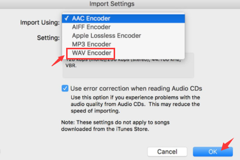 Convert AIFF to WAV in iTunes