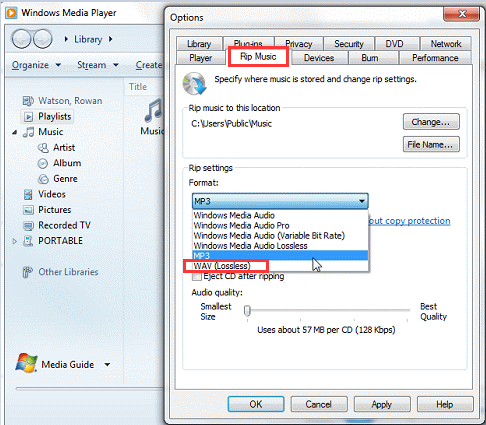 Convert MP4 to WAV in Windows Media Player