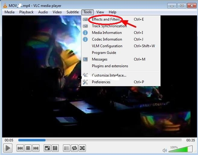 Rotate MOV File with VLC